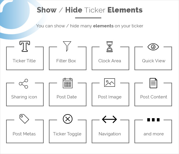 ticker show hide elements